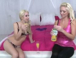 Two sexy blondes are very horny and they wanna organize raunchy party. The chicks drink champagne and acquire undressed. They are ready for hot experiments and naughty sex!