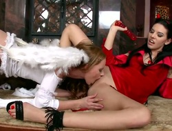 Sexy and horny Dixie and Gitta Blond play the angel and the Devil is this amazing hardcore angel on angel fantasy. The sweet angel bends over and takes the Devils sizzling hawt wet tongue deep into her shaved virginal pussy.