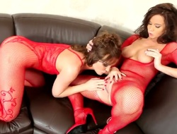 Tight and big boobed brunette hair gal Cindy Dollar is sitting in hot fishnet lingerie at front of Silvia Saint and enjoying naughty lesbo fuck with dildo.