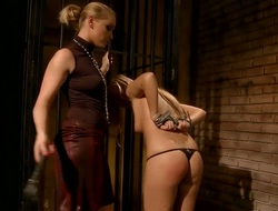 BDSM action with naughty lesbos whose names are Barbie White and Kathia Nobili