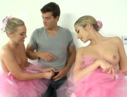 Ramon unintentionally entered dressing room and caught 2 hawt ballerinas Ally Kay and Natalia Rossi giving a kiss ravishing with naked boobs! Those horny chick dont let him go by sucking his large cock!
